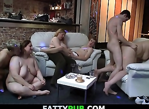 Chubby party girl gets screwed from behind