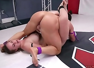 Lesbian wrestling gets super hot