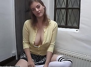 Smoking hot blonde smoking downblouse