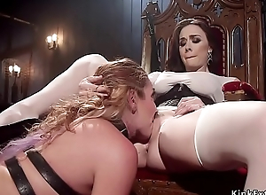 Mistress whips hot ass to brunette slave