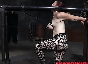 Busty sub babe gets spanked and toyed