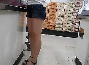 Skinny flat pest Asian milf in booty shorts