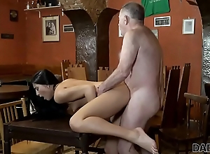 DADDY4K. Old owner of bar satisfies needs together with son&#039_s hot GF