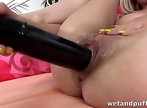 Wetandpuffy - Russian blonde Lola Shine masturbates with a huge black dildo