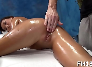 Hot 18 year old girl gets fucked hard from behind unconnected with her masseur