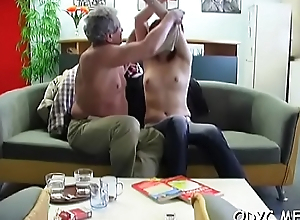 Big titted non-professional gets licked by old guy and rides him