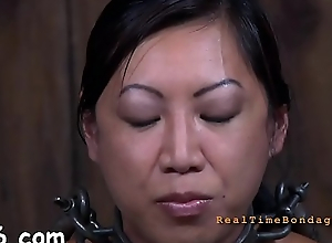 Beauty gets her teats licked previous to painful clamping