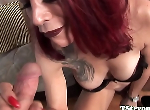 Redhead ts beauty sucking dong at cast