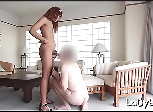 Agile thai t-girl stands in a doggystyle for ass fucking