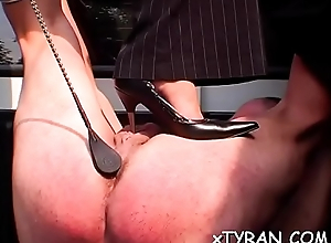 Concupiscent fetish action with scrounger getting dominated hard by hot babe