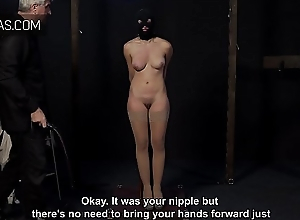 Obedient slave thanking every whip strike