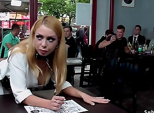 Blonde anal fucked in public bar