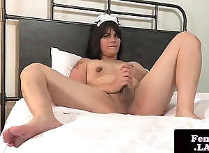 Femboy maid stroking hard dig up