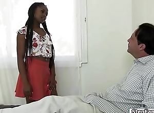 Ebony stepdaughter loves stepdads dick