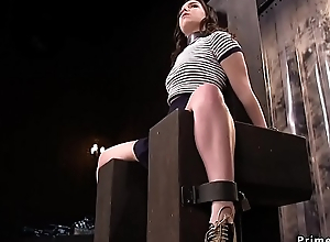 Brunette on one's beam-ends and suspended tormented
