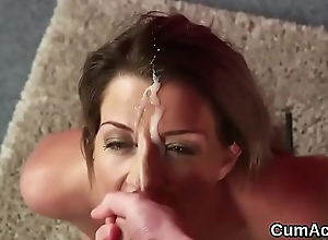 Flirty looker gets cum load on her face gulping all along to love juice