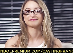 CASTING FRANCAIS &ndash_ Sweet flaxen-haired with glasses pounded in say no to first porn scene