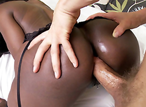 Black mom Diamond Jackson anal fucked doggy ventilate