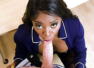 Queen Jasmine Webb sucking on obese white dick in the office