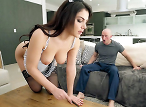 Valentina Nappi fro french maid uniform is cleaning the house