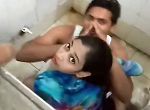 Desi pal gender his girlfriend in public toilet & Caught by public