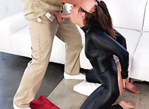 Fellatrix Kelsi Monroe wears black catsuit during XXX sucking