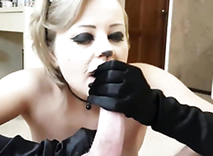 The naughty kitty make an intense blowjob and licks his sperm