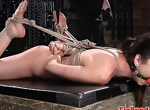 Tiedup babe gets punished and pussyrubbed