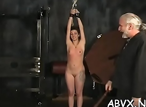 Naked woman extreme slavery at domicile with horny man