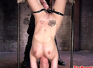 Gagging BDSM dutiful gets her pussy toyed
