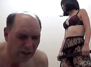 Japanese mistress whips her attendant as he learns Japanese