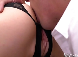 MOM Sexy Russian MILF in off colour black lingerie and high heels
