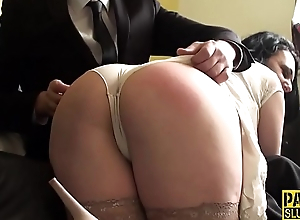 Bound chubby submissive